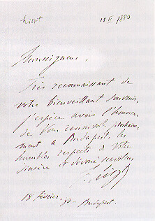 Letter from Franz Liszt